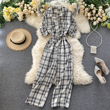 SINGRAIN Women Summer Retro Plaid Overalls Rompers Fashion Button Lace up Rompers 2020 New Streetwear Wide Leg Long Rompers cheap Polyester Jumpsuits Full Length Jumpsuits Rompers Casual Loose Ages 18-35 Years Old
