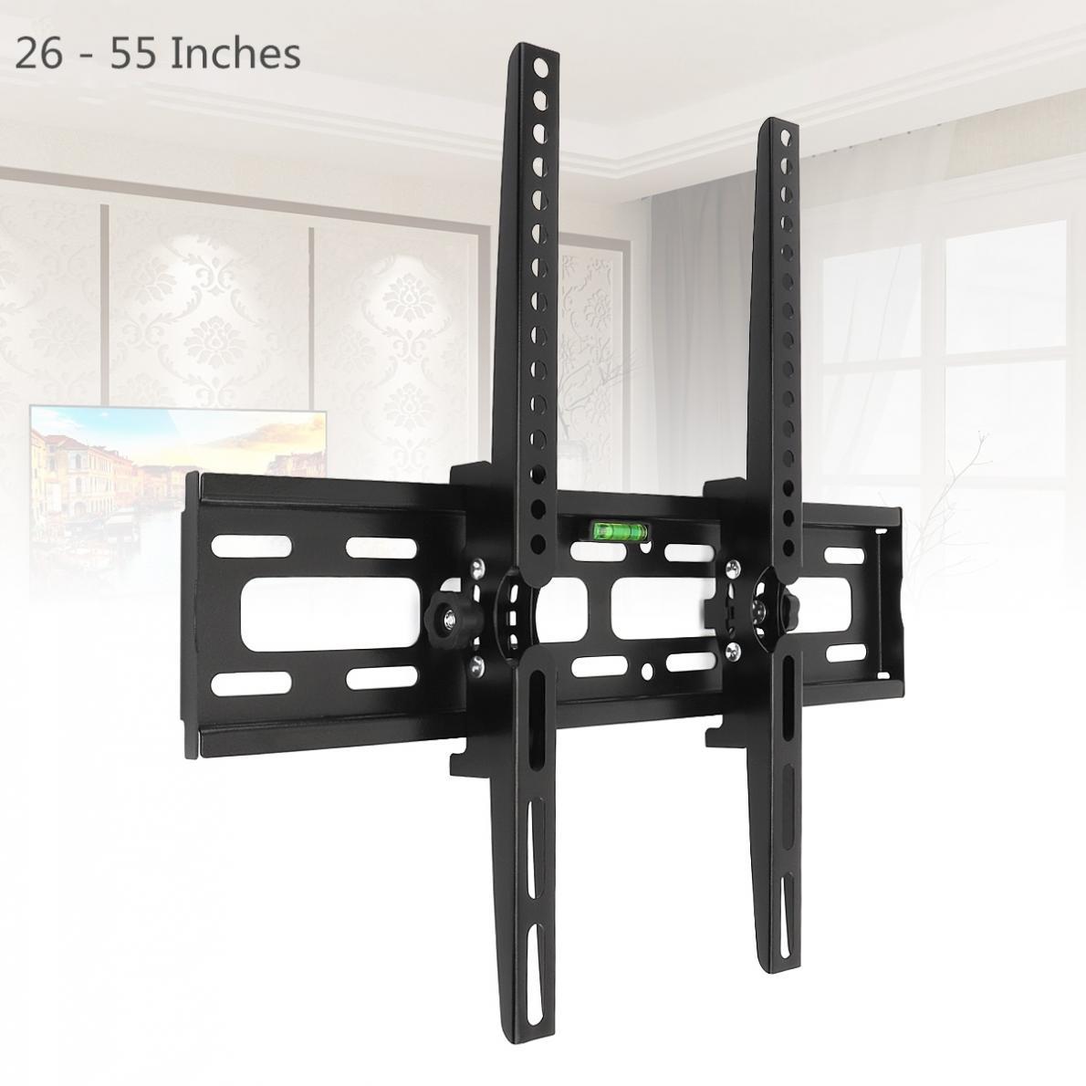 Suporte ajustável 15 graus de inclinação do quadro da tevê do painel plano do suporte da montagem da parede da tevê do universal 30 kg com nível para 26-55 Polegada led lcd