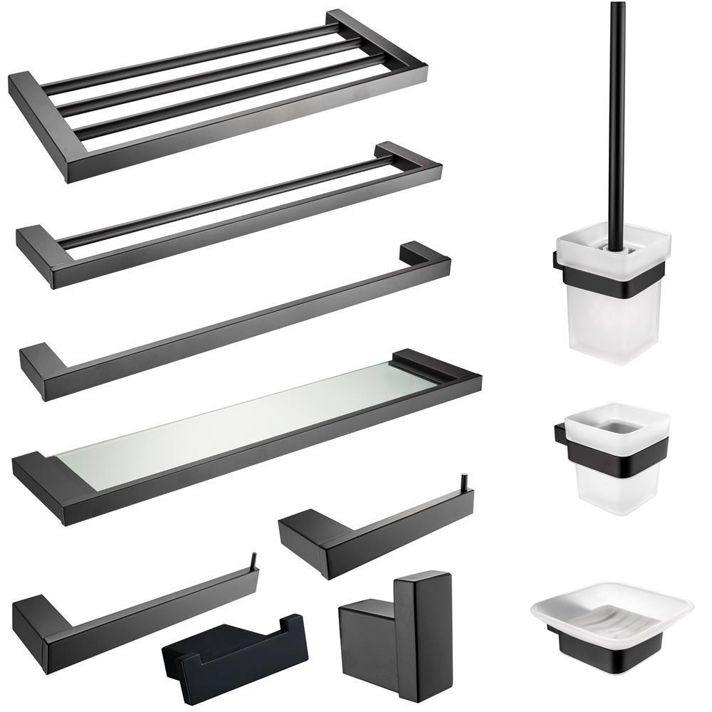 304 Stainless Steel Bathroom Shelf Robe Sets Towel Rack Glass Cup Toilet Brush Holder Black Bathroom Hardware Pendant Cn(origin)
