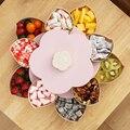 Креативная вращающаяся коробка для закусок  пластиковая лепестковая двухслойная тарелка для фруктов  разделенная тарелка для закусок  кон...