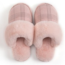 DIHOPE Women's slippers Fur Slippers Winter Warm Big Size 36-44 Plush Non Slip Home shoes Indoor Couple Floor Shoes Bedroom(China)