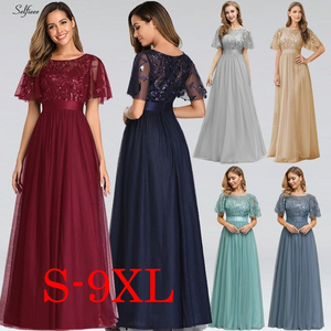 Image 2 - New Decoration Dress Women Elegant A Line O Neck Flare Sleeve Sequined Long Formal Party Dresses For Women Plus Size X 9XL 2020
