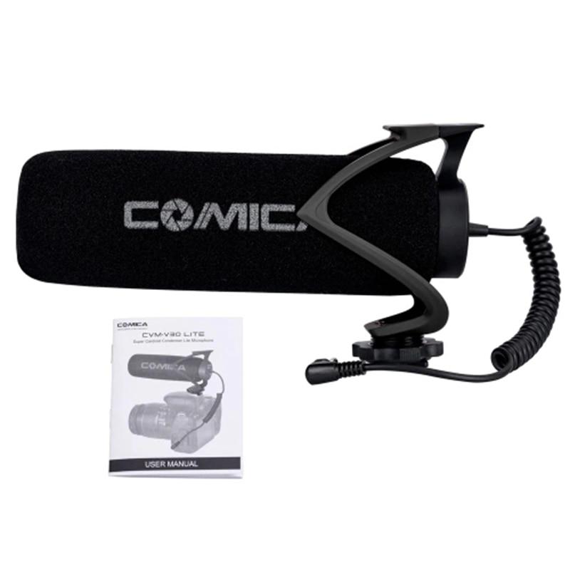 Comica Cvm-V30 Lite Microphone With Super-Cardioid Polar Pattern Cold-Shoe Design Condenser Mic For Smartphone Camera Black