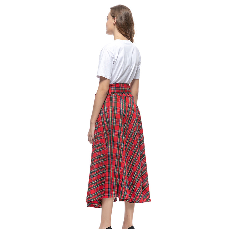 Vintage Plaid High Waist Skirt Women Red Boho Elegant Midi Fashion Skirts