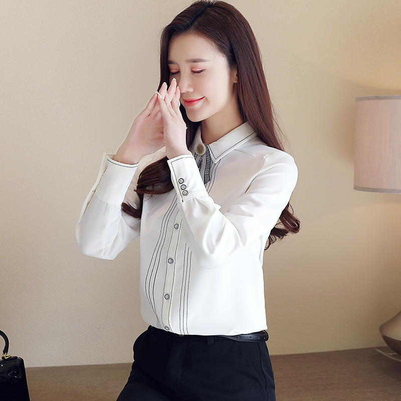 2020 Spring Autumn Women White Blouse Office Lady Slim Spliced Loose Long Sleeve Solid Chiffon Shirts women Casual Patchwork
