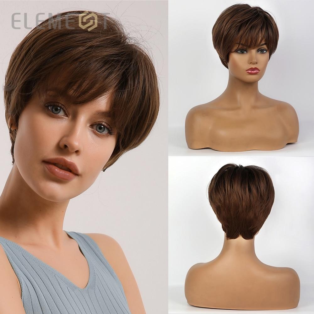 Elemento sintético curto em linha reta marrom pixie corte perucas fofo em camadas penteado para branco/preto feminino diário wear