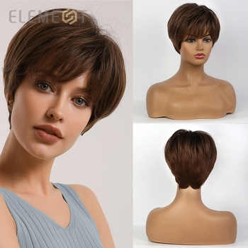 Element Synthetic Short Straight Brown Pixie Cut Wigs Fluffy Layered Hairstyle for White/Black Women Daily Wear