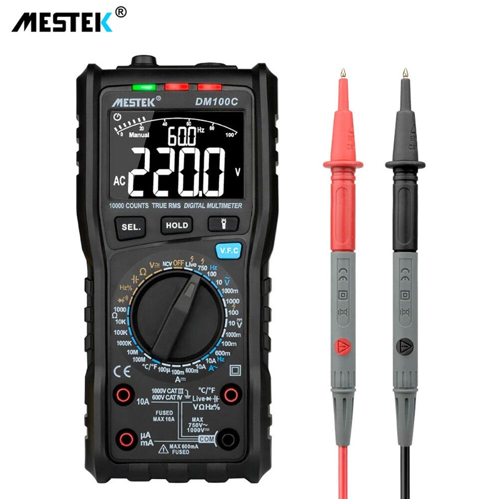 MESTEK DM100C True-RMS bouton multimètre numérique 10000 compte avec graphique à barres analogique ampèremètre de tension AC/DC Ohm courant manuel/auto