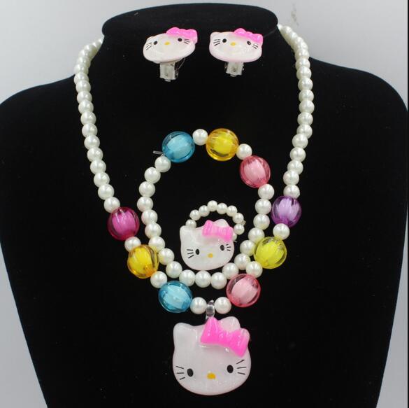 1set Lovely Baby Girls Imitation Pearls Kitty cat Pendant Necklace Bracelet Ring Set Children Kids Jewelry sets Xmas Gifts