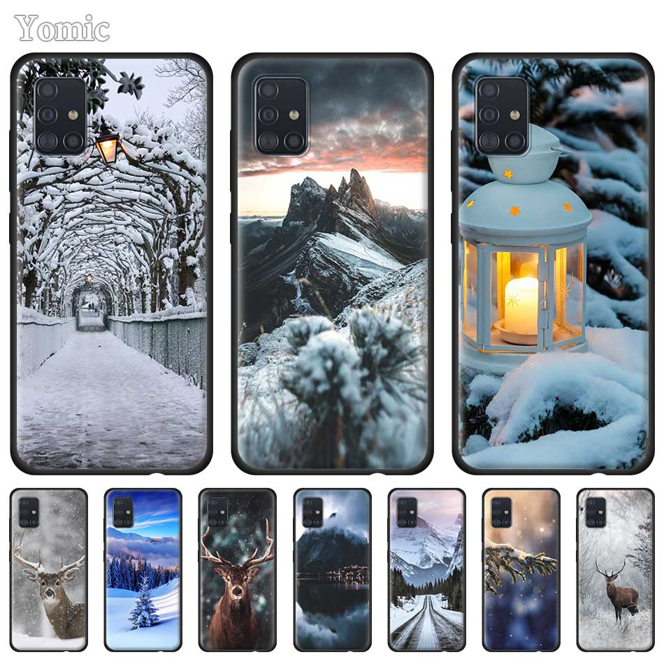 Silicone <font><b>Case</b></font> for <font><b>Samsung</b></font> Galaxy A50 A51 <font><b>A70</b></font> A71 A10 A20 E A30 S A40 A60 A80 Black Soft Phone Cover Christmas Snow image