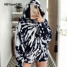HEYounGIRL Tie Dye Print Casual Loose Tracksuit Women Harajuku Hooded Sweatshirt Top