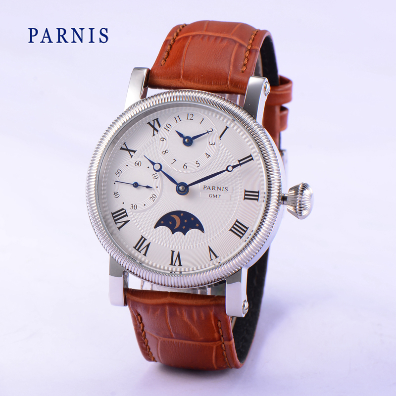 Parnis 43MM Mechanical Hand Wind Men's Watch Brown Strap Moon Phase Mens Hand Winding Watches Waterproof Man Clock 2019 Luxury