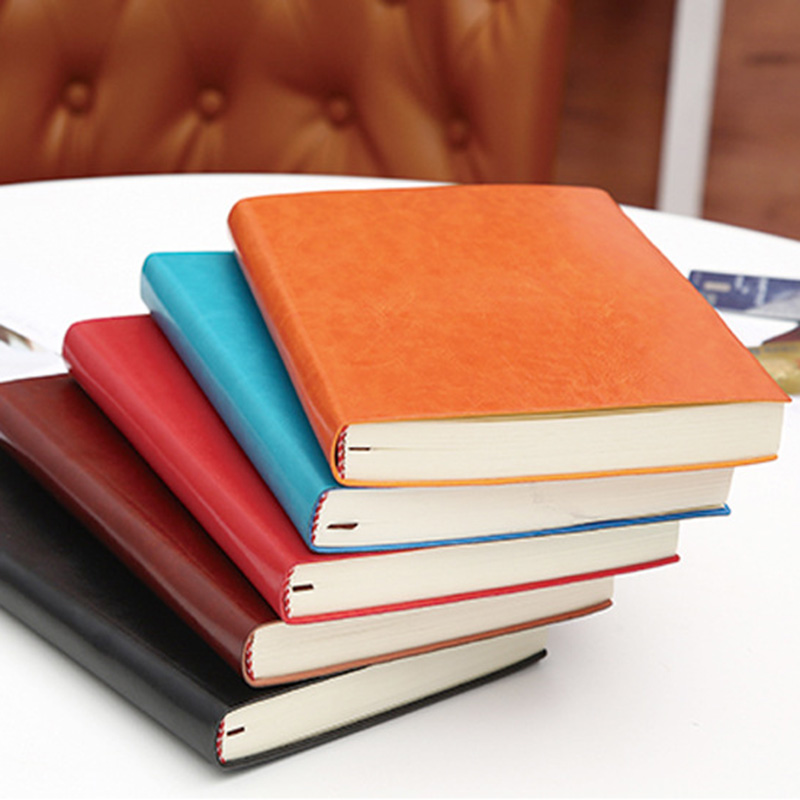 A5 A6 B5 three sizes 4 styles 5 colors large business diary leather soft copy notebook increase thick notebook 4