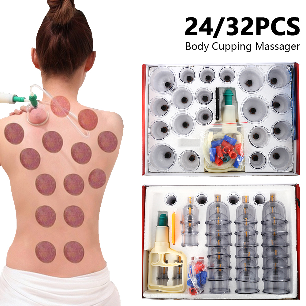 24/32pcs Cups Vacuum Cupping Medical Vacuum Cans Body Cups Cellulite Suction Cup Therapy Back Massage Relax Anti-cellulite