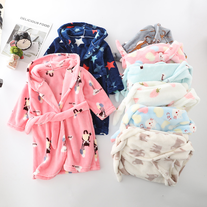 Winter Flannel Kids Sleepwear Robe Cute Cartoon Animals Print Hooded Girls Warm Bathrobe Children Pajamas For Boys 2-8 Years 1
