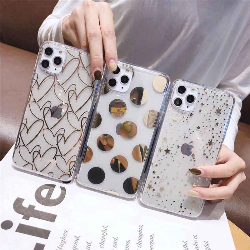 Lovebay untuk iPhone 11 Pro X XR X MAX 7 8 6 6 S Plus Case Dilapisi Cinta Hati bintang Jelas Lembut TPU Silicone Back Cover