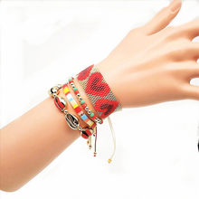 oho MIYUKI Heart Bracelet Boho Chic Women Turkish Evil Eye Bracelet Red Set Star Jewelry Pulsera Mujer 2019 Tassel Handmad(China)
