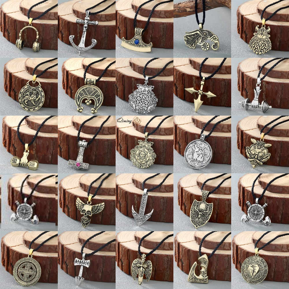 QIMING Steampunk Women Men's Necklace Tibetan Axe Cross Skull Odin Slavic Viking Jewelry Vintage Trendy Pendant Necklaces