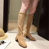 2019 rear zipper suede long tube stretch fashion boots children round head thick with women's boots