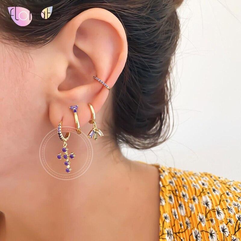 925 Sterling Silver Rainbow/Purple/White Zircon Cross Pendant Hoop Earrings for Women Simple Circle Earrings Fashion Jewelry