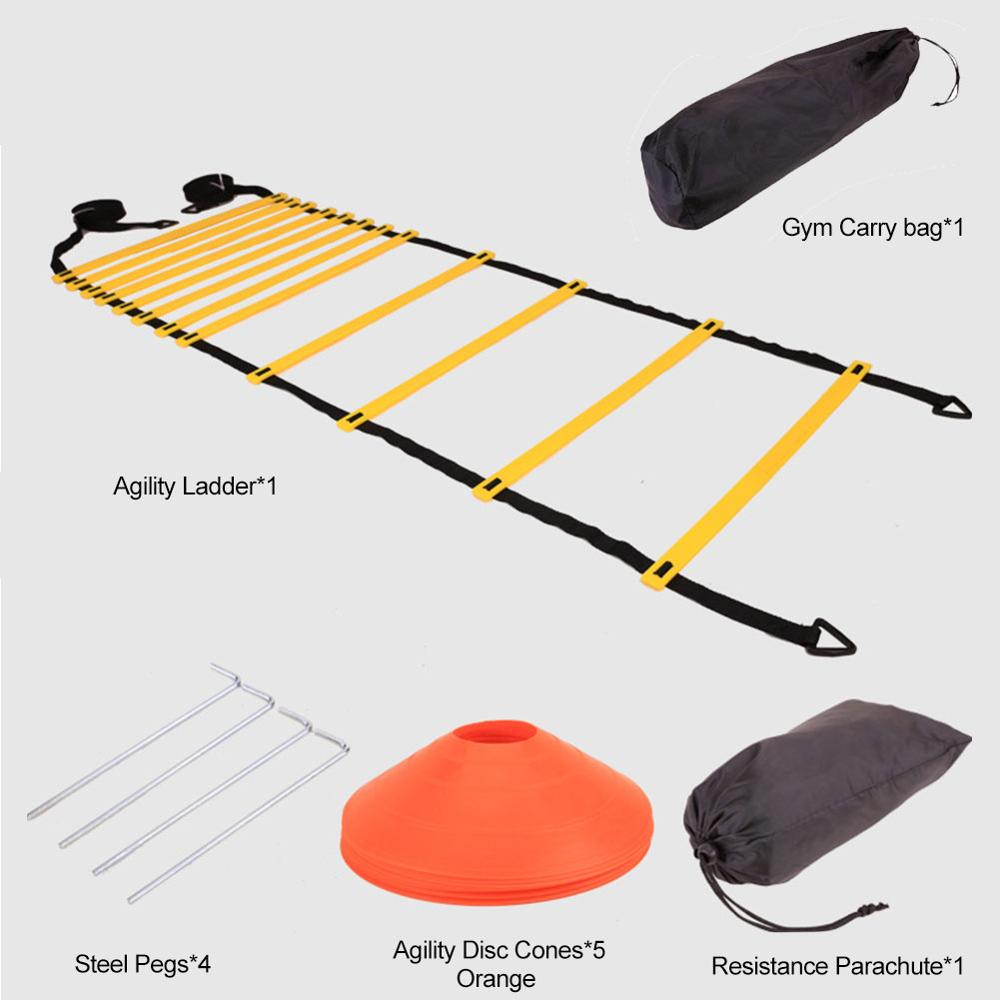 12 Pcs Speed Agility Soccer Training Set Speed Training Equipment Ball Training Soft Ladder Logo Plate Resistance Umbrella Set