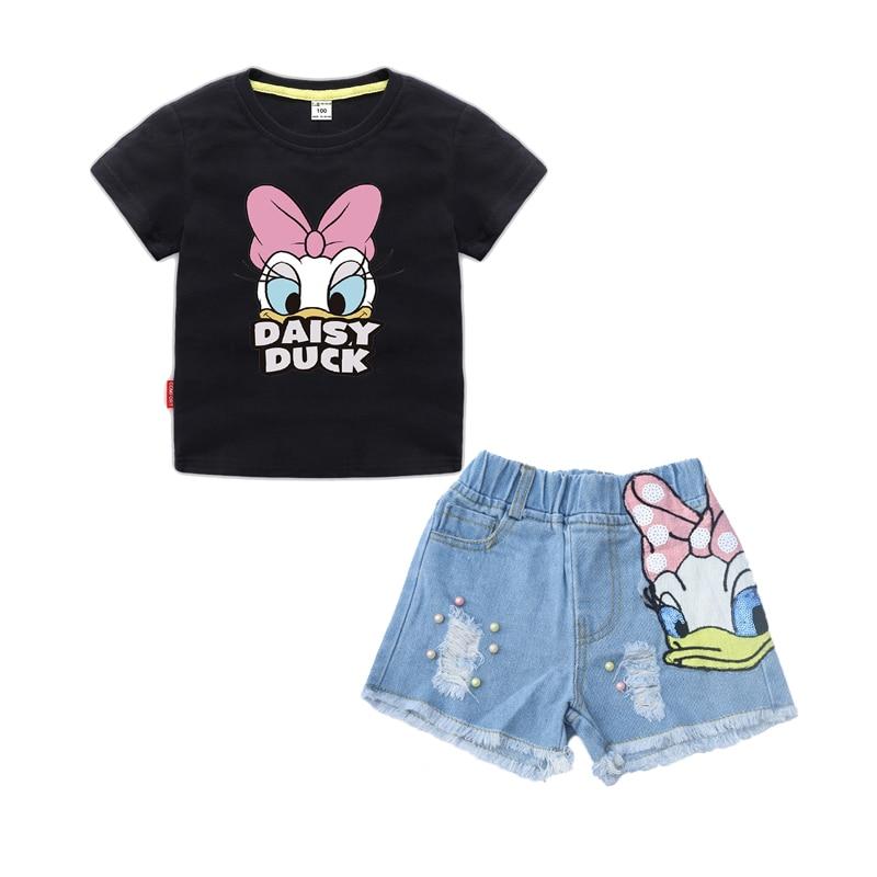 Girls Outfits Clothes Sets Children Cartoon Duck Summer T Shirt Sequins Broken Hole Denim Shorts Suit Baby Girls Clothing Set 3