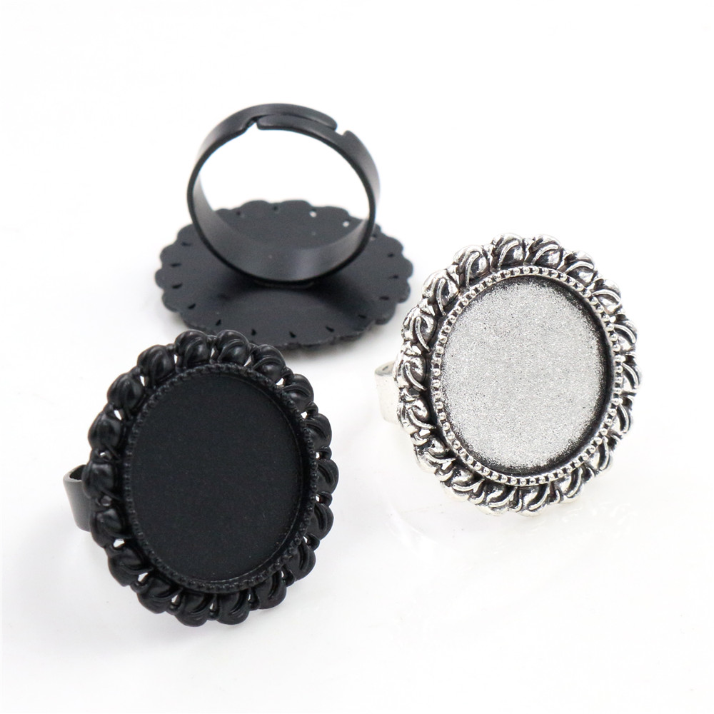 18mm 6pcs Black And Antique Silver Plated Brass Adjustable Ring Settings Blank/Base,Fit 18mm Glass Cabochons,Buttons;Ring Bezels