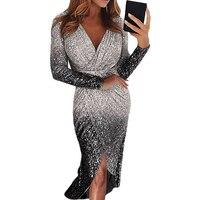 Новинка, женское облегающее платье с блестками и разрезом, длинное платье, Дамское элегантное вечернее платье с длинным рукавом и v-образным...