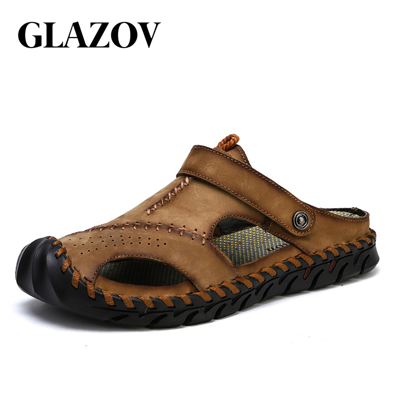 GLAZOV Brand New Summer Man Beach Cork Slippers Casual Men Buckle Genuine Leather Cut-outs Clogs Slides Slip On Shoes Plus 38-48