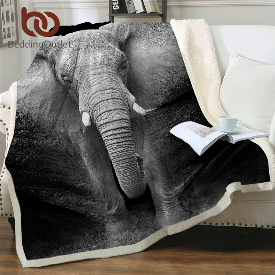 BeddingOutlet Elephant Sherpa Throw Blanket 3D Printed Animal Bedspread Photography Black and White Plush Blanket 150x200cm(China)