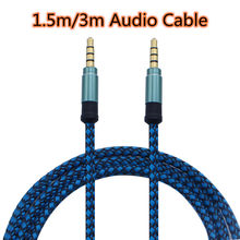 3/1.5m Nylon Jack Aux Cable 3.5mm to 3.5mm Audio Cable Male to Male Gold Plug Car Aux Cord for iphone Samsung xiaomi(China)