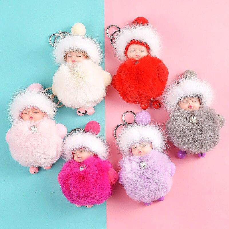 Cute Plush Keychain Sleeping Baby Doll Keychain Kids Toys Soft Kawaii Keychain Kpop Accessories Bag Pendant Line Friends Gifts