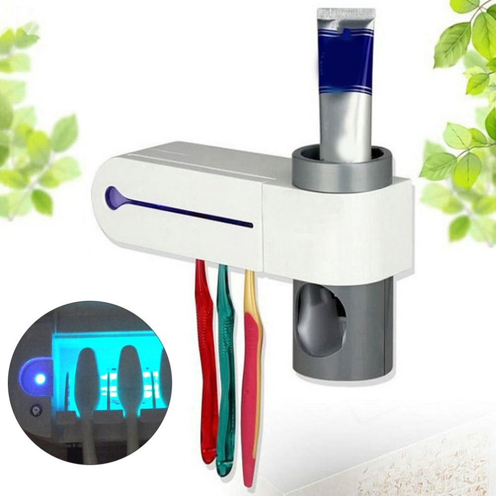 UV Disinfection Toothbrush Automatic Toothbrush Steriliser Cleaner Brush Holder Set with Automatic Toothpaste Dispenser image