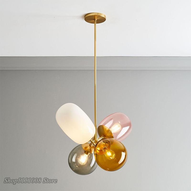 Nordic Colorful Balloon Glass LED Pendant Lights Lovely Children Room Bedroom Dining Room Hanging Lamps Lighting Luminaire Decor