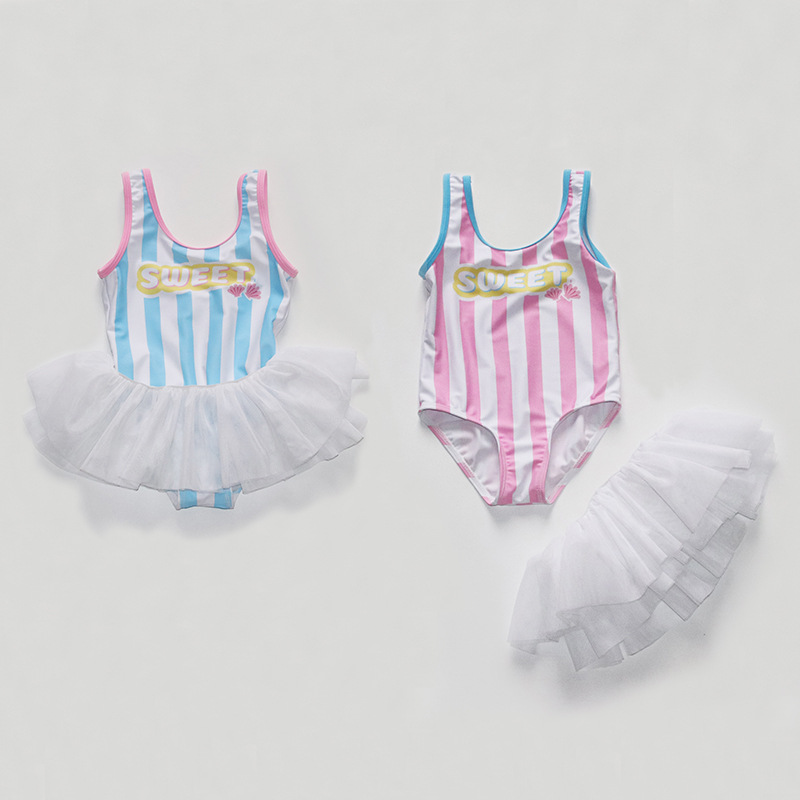 2019 New Style Lettered Mesh Dress Fake Two-Piece Cute KID'S Swimwear Vest Small CHILDREN'S Swimsuit Foreign Trade Manufacturers