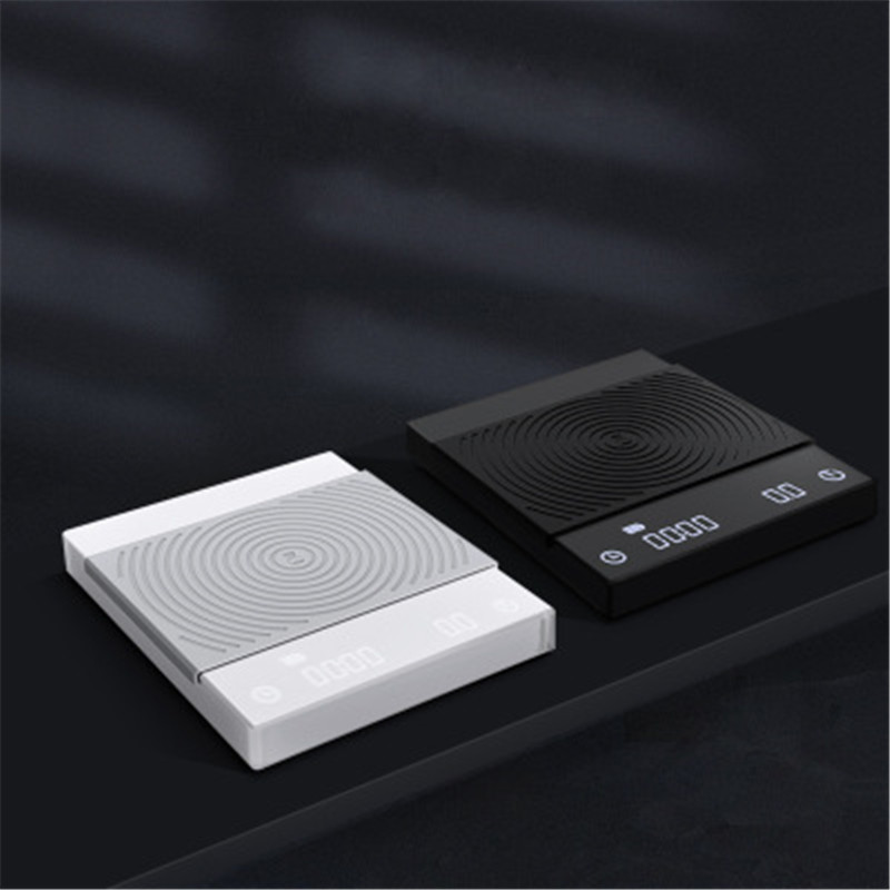 TIMEMORE Black Mirror Electronic Scale Hand Drip Espresso Rechargeable Smart Coffee Scale Timing Kitchen Scale LED 3KG/0.1g