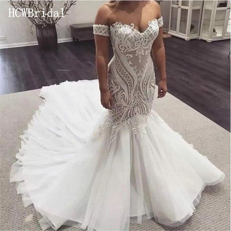 Vestido de noiva estilo sereia, com renda, ombro vazado,  personalização|Vestidos de Noiva| - AliExpress