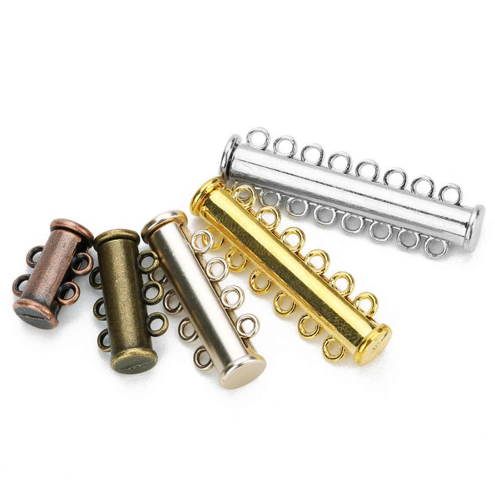 Louleur 5ピース/ロット2/3/4/5/6/8行シルバーメッキ強磁場クラスプのためのネックレスブレスレットチェーンロジウムメッキバックルフック