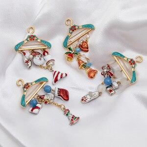 Merry Christmas Brooch Creative Hanger Cartoon Santa Claus Bell Long Tassel Corsage Enamel Pins For Women Men Xmas New Year Gift