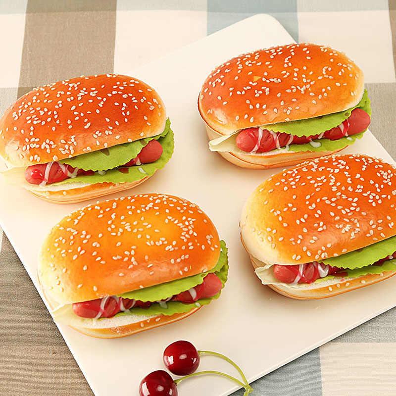 Juguetes de decoración para el hogar con superficie de PU de resina, modelo de hamburguesa Artificial, juguetes educativos para chica chico