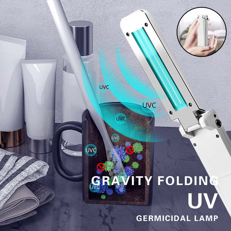 Foldable UV Disinfection Lamp USB Handheld Ultraviolet Lamps UVC Germicidal Light Sterilizer Bactericidal Light For Travel Home