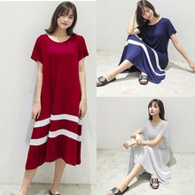 Loose Dress Women Summer New Stitching Striped Short-sleeved O-neck Large Swing