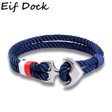 Eif Dock High Quality Bracelets For Men Paracord Anchor Bracelets Stainless Steel Pulseira Masculina Male Jewelry Male Wrap(China)