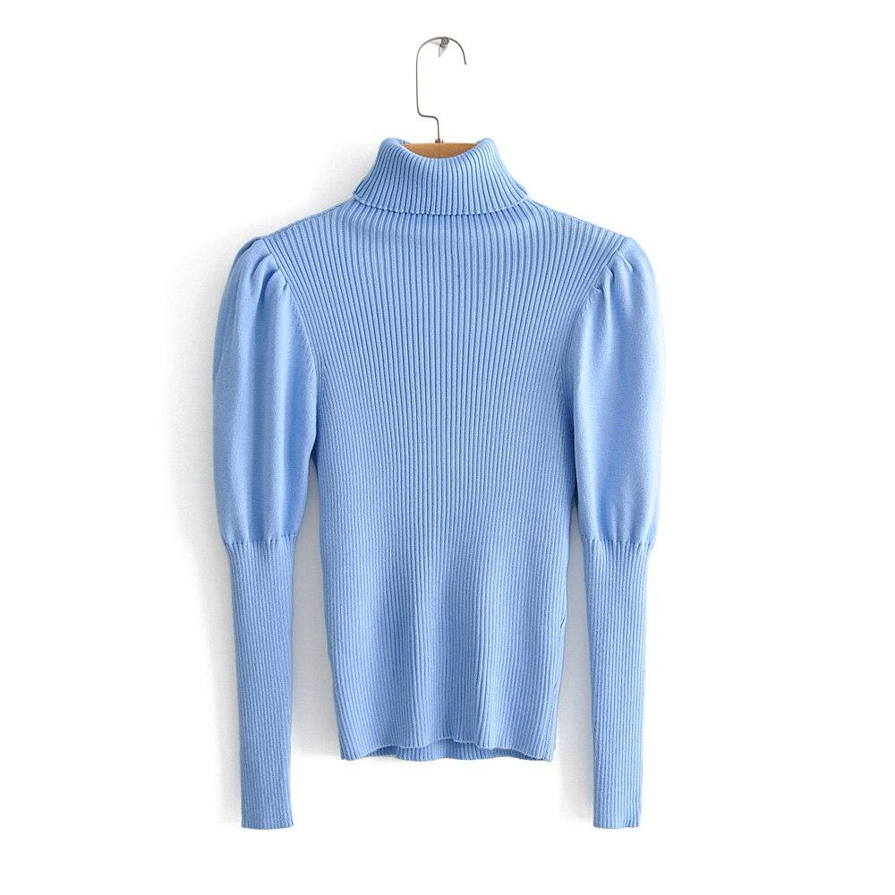 2019 Za Fashion Stylish Chic Women Blue Soft Slim Sweater Female Turtleneck Bodycon Knitwear Casual Laides Jumper Streetwear