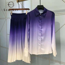 SEQINYY Office Lady Suit Summer Spring New Fashion Deisgn Women Runway Shirt + Elastic Midi Pleated Skirt Gradient Purple Print