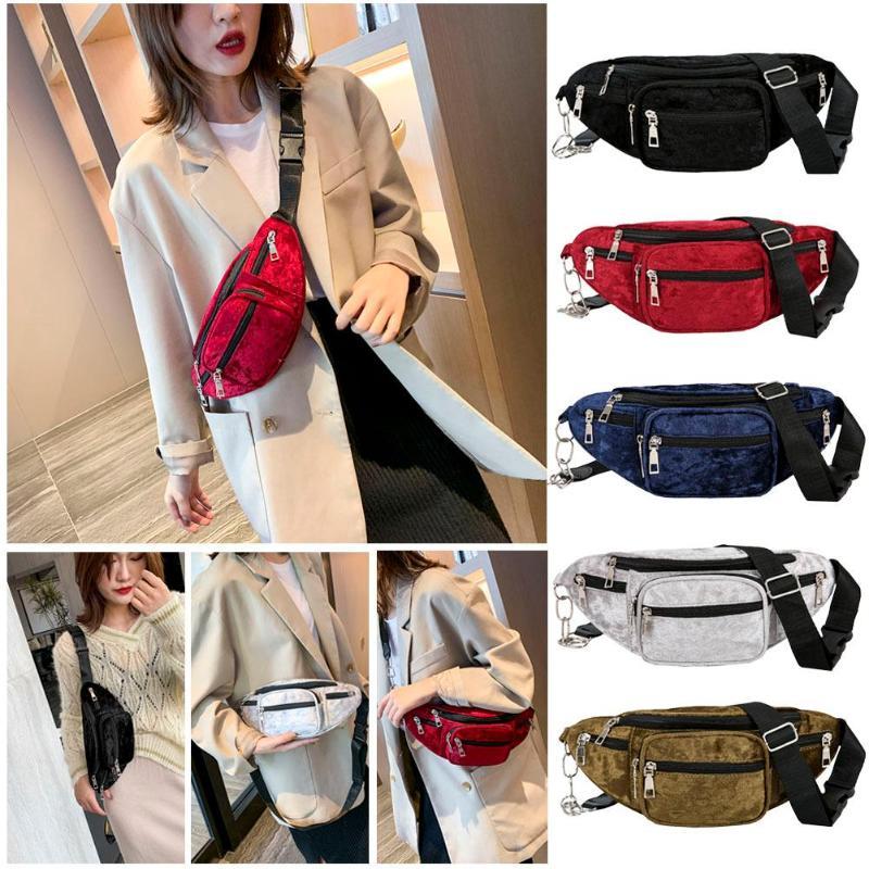 Hot Sale Waist Packs Delicate Texture Fashion Fanny Chest Bag Women Velvet Money Purse Zipper Shoulder Crossbody Pack