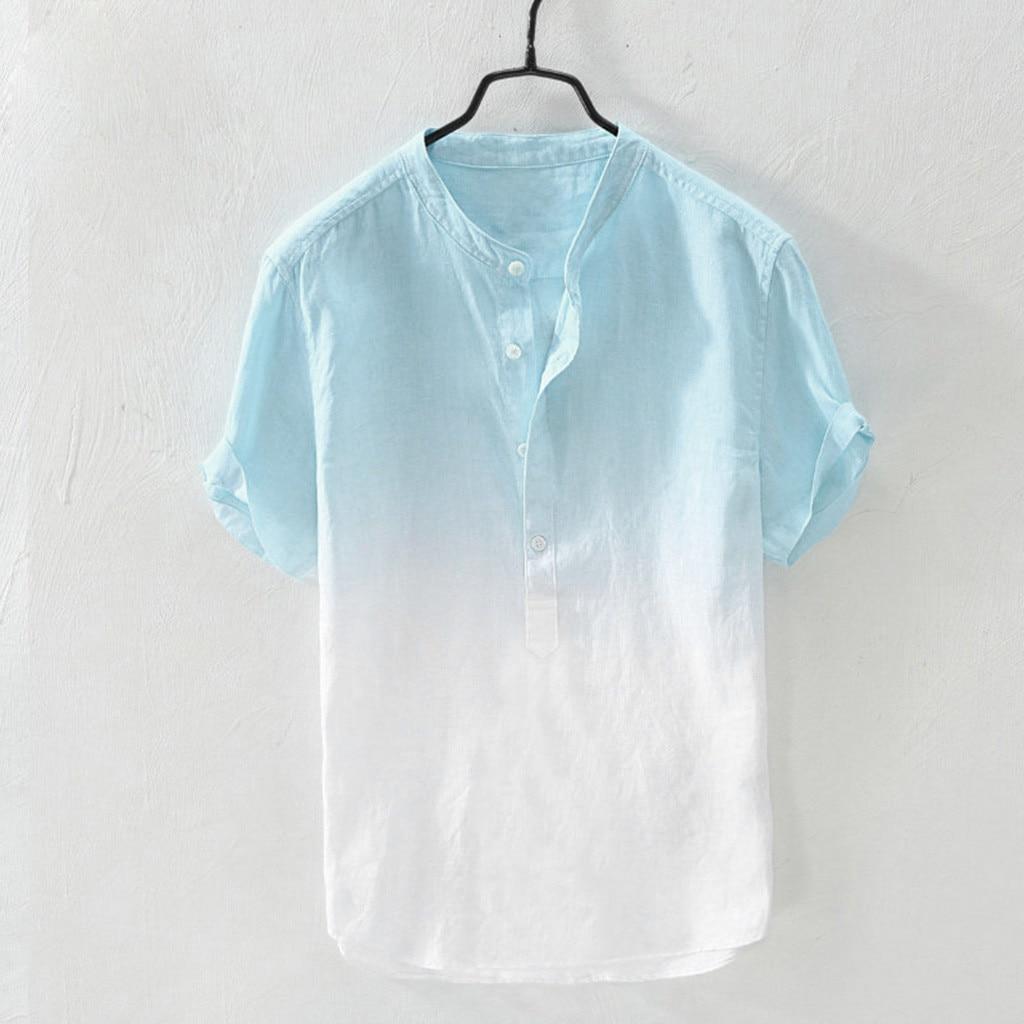 Summer Men's Shirt Short Sleeve Hawaiian Shirts Collar Hanging Dyed Gradient Cotton Linen Shirt Cool Thin Breathable Shirt Mens
