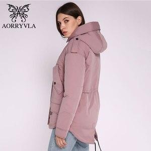 Image 4 - AORRYVLA 2020 yeni bayan kış ceket kapşonlu rüzgar geçirmez askeri ceket büyük cep kadın kış giyim rahat sıcak kadın Parkas