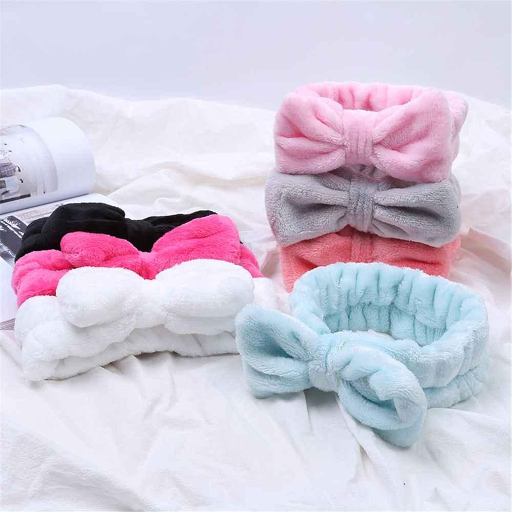 Coral Fleece Bow Cross Headband For Wash Face Makeup Lady Bath Mask Cosmetic Hairband Elastic Soft Turban Hair Accessories