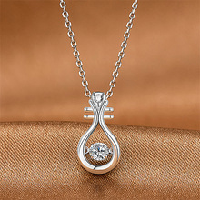 Charm Female White Crystal Pendant Necklace Cute Rose Gold Silver Chain Necklaces For Women Elegant Bridal Lute Wedding Necklace elegant crystal zircon pendant necklace silver white red